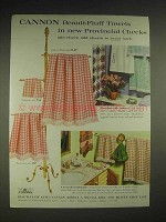 1959 Cannon Beauti-Fluff Towels in Provincial Checks Ad