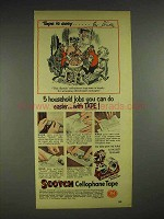 1953 3M Scotch Cellophane Tape Ad - Tape it Easy