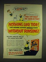 1950 Tide Detergent Ad - Without Rinsing