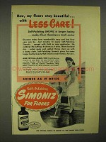 1946 Simoniz Wax Ad - Floors Stay Beautiful