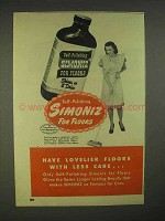 1946 Simoniz Wax Ad - Lovelier Floors With Less Care