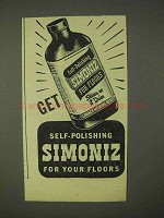 1945 Simoniz Self-Polishing Wax Ad - For Your Floors