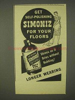 1944 Simoniz Wax Ad - Self-Polishing for Your Floors