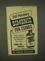 1944 Simoniz Wax Ad - Self-Polishing Simoniz for Your Floors