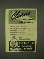 1943 Old English Household Cleaner Ad - Cleans Walls