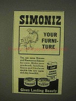 1943 Simoniz Wax, Kleener Ad - Your Furniture