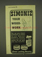 1943 Simoniz Wax, Kleener Ad - Your Woodwork