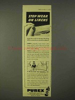 1943 Purex Bleach Ad - Stop Wear on Linens