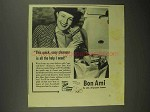 1942 Bon Ami Cleanser Ad - Quick, Easy