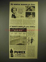 1940 Purex Bleach Ad - The Gentle Bleach for Linens
