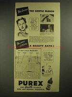1940 Purex Bleach Ad - For Linens The Gentle Bleach
