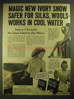 1940 Ivory Snow Detergent Ad - Safer for Silks, Wools