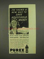 1939 Purex Bleach Ad - Save Household Money
