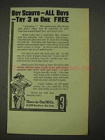 1913 Three-in-One Oil Ad - Boy Scouts, Boys Try Free