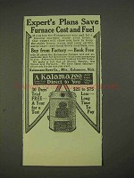 1913 Kalamazoo Stove Ad - Expert's Plans Save