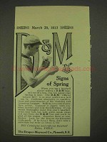 1913 Draper-Maynard D&M Baseball Ad - Signs of Spring