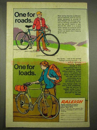 1973 Raleigh Record 24, Sprite Bicycle Ad - For Roads