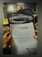 2002 Ford Taurus Car Ad - Resume, The American Road