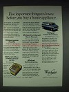 1985 Whirlpool Appliances Ad - Five Important Things