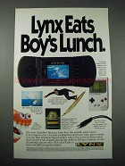 1990 Atari Lynx Video Game Ad - Eats Boy's Lunch