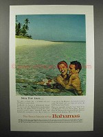 1962 Bahamas Tourism Ad - Sea For Two - Sandy Cay