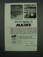 1957 Maine Tourism Ad - A Sun Bath, Boating and Fishing