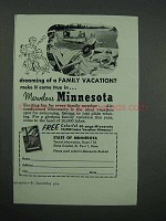 1957 Minnesota Tourism Ad - Dreaming of Family Vacation