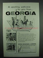 1957 Georgia Tourism Ad - A Sporting Welcome to You