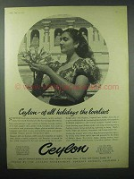 1957 Ceylon Tourism Ad - Of all Holidays the Loveliest