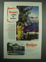 1947 Oregon Tourism Ad - Crater Lake - Yours to Enjoy