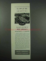 1940 West Virginia Ad - in 49 of 55 Counties Coal
