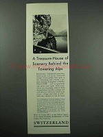 1933 Switzerland Tourism Ad - Treasure-House of Scenery