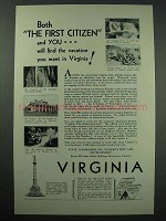 1931 Virginia Tourism Ad - The First Citizen