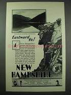 1928 New Hampshire Tourism Ad - Old Man of Mountains