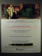1989 Waterman Pen Ad - When I Was Born