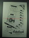1954 Esterbrook Pen Ad - The Right Point by Number