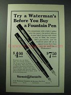 1926 Waterman Fountain Pen Ad - Try Before You Buy