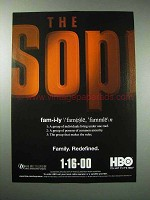 1999 HBO The Sopranos TV Series Ad - Family Redefined