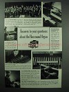 1938 Hammond Organ Ad - Answers to Questions