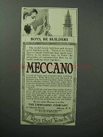 1913 Meccano Toys Ad - Boys, Be Builders