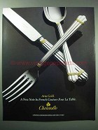 1987 Christofle Aria Gold Silverware Ad - A New Note