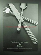1985 Christofle Aria Silverware Ad - French Couture