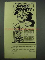 1939 Friskies Dog Food Ad - Saves Money!