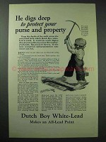1926 Dutch Boy White-Lead Paint Ad - He Digs Deep