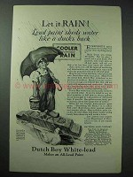 1926 Dutch Boy White-Lead Paint Ad - Let it Rain!