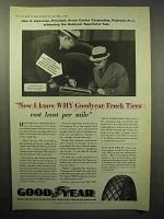 1933 Goodyear Truck Tire Ad - Cost Least Per Mile