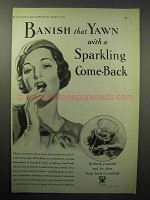 1933 Coca-Cola Soda Ad - Banish Yawn with Sparkling