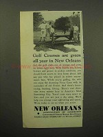 1933 New Orleans Ad - Golf Courses are Green all Year