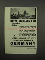 1932 Germany Tourism Ad - Cologne on the Rhine
