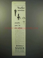 1930 Hotels Statler Ad - Service in Six Cities